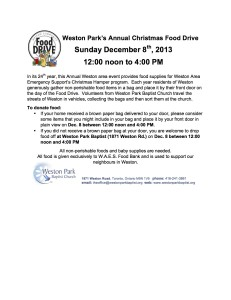 Weston Park Baptist Food Drive