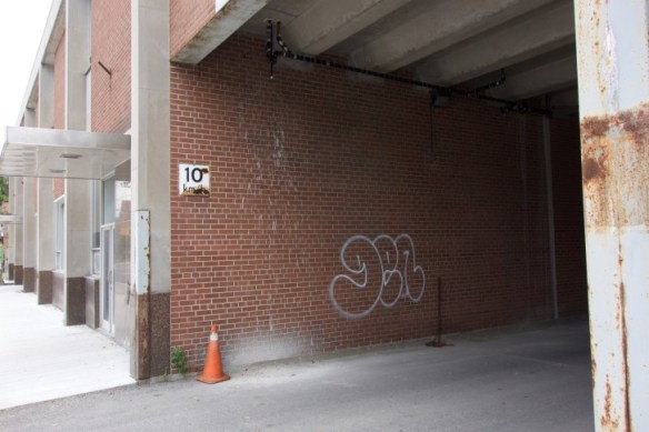 Graffiti is still there after nearly a year.