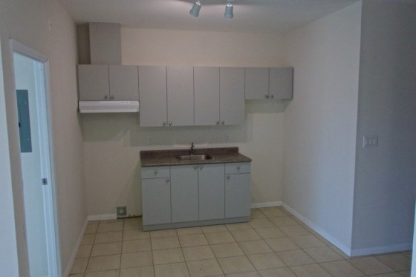The kitchen alcove in Apartment 203.