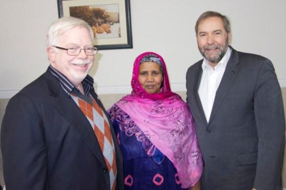 Mike Sullivan, Asha Ahmed, Tom Mulcair.