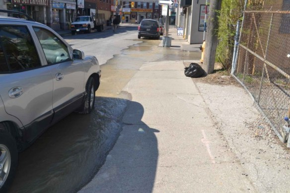 Water flowing from the main break on Wednesday May 6.