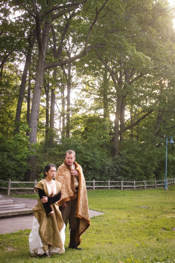(Left to right) Olivia Jon (Ophelia) and Rob Glen (Polonius) in Hamlet at Kew Gardens.