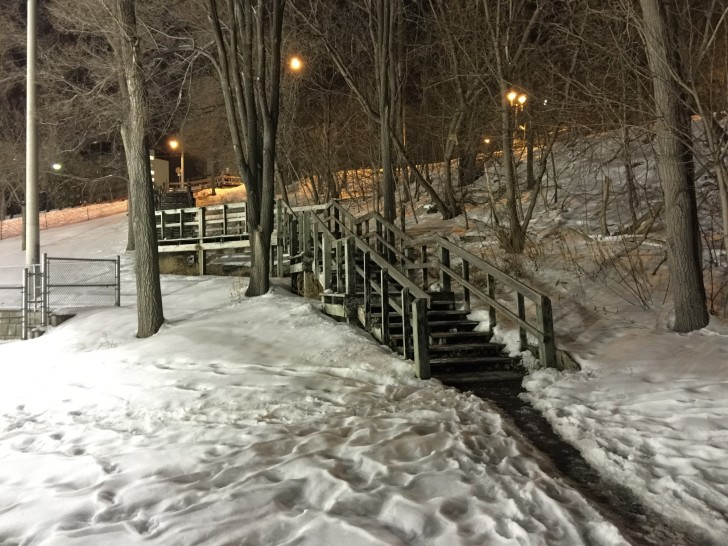 A nighttime view of the steps taken in February 2015.