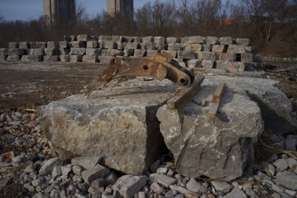 Stone blocks stacke and waiting to be placed in the Humber.