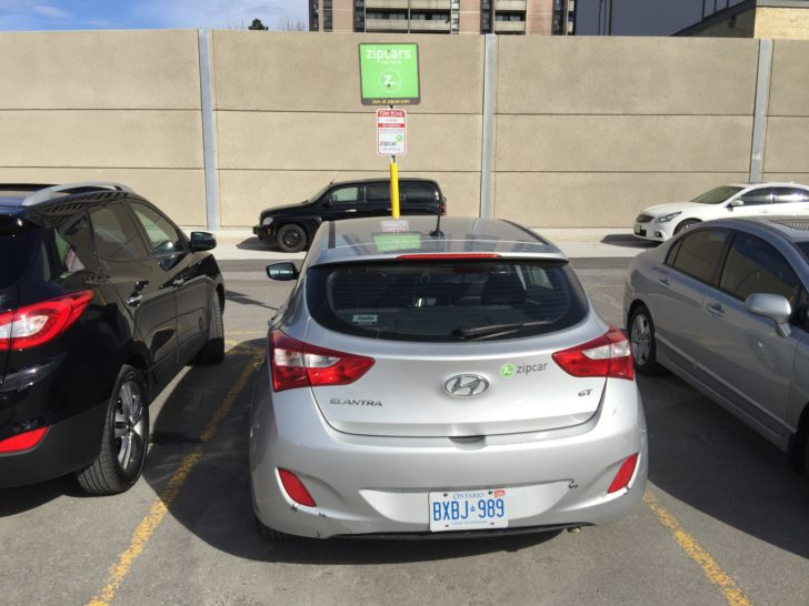 Weston's Zipcar parked in the UP Express lot.