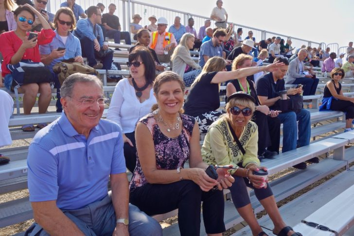 Councillor Frank DiGiorgio, MPP Laura Albanese and Councillor Frances Nunziata watch the move from the bleachers.