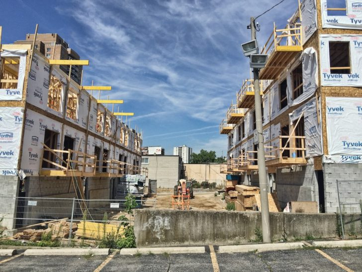 Later phases of the townhomes closer to Weston Road.