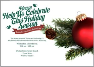 Holiday hymn sing invitation