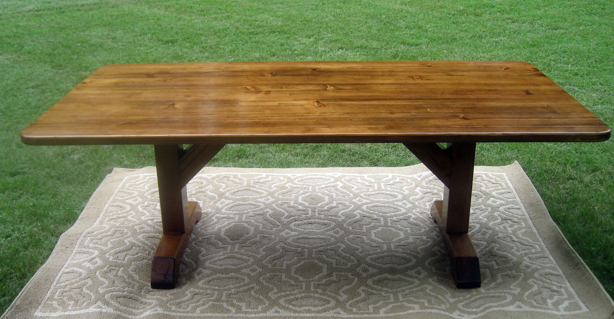 Barn Wood Farmhouse Trestle Table