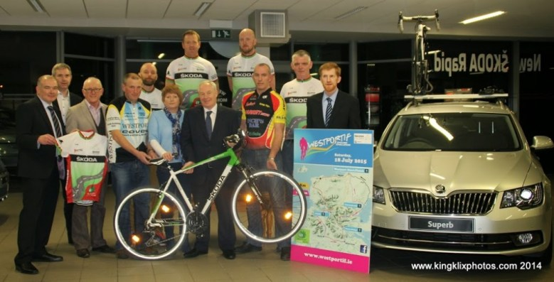 Pictured at the launch of the Westportif 'Ring of the Reek' leisure cycle 2015 were (left-right) Padraig Carolan (Mayo Roscommon Hospice), John Feerick (INM), Dermott Langan (Smarter Travel), Michael Flynn (Covey Wheelers), Anthony Harrison (Covey Wheelers), Brian Golden (Western Lakes Cycling Club), Breda Kelly (Mayo Roscommon Hospice), Michael Ring TD, David Mc Dermot (Western Lakes Cycling Club), John Hughes (Western Lakes Cycling Club), Vincent Cummins (Western Lakes Cycling Club) and David Monaghan (Monaghan Skoda) Photographer Liz King