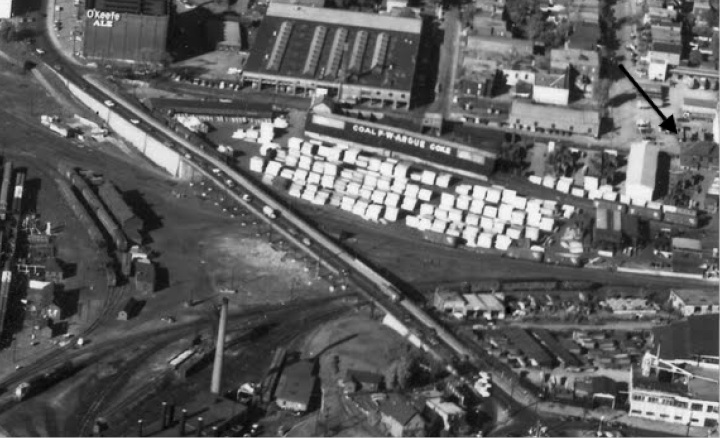 aerial photo old trainyards bayview city centre area