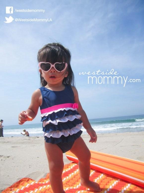 Aria in her sunglasses at Zuma Beach