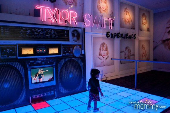 """I really liked this display - it's what you first see when you get off the elevator on the second floor at the Grammy Museum. Taylor Swift's """"Shake it Off"""" plays on loop on the giant boom box and the light up floor is for dancing."""