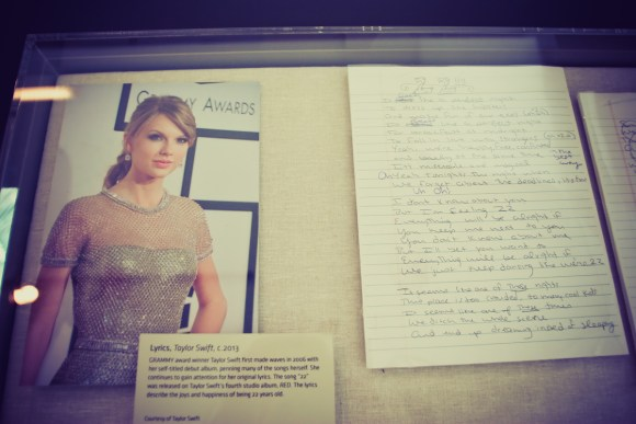 "Handwritten song lyrics from Taylor Swift's hit song ""22"""