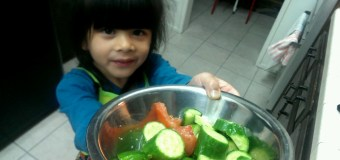Cucumber and Tomato Salad by 4 year old Aria