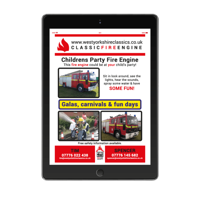 West Yorkshire Classics, Childrens Party Fire Engine Flyer on iPad.