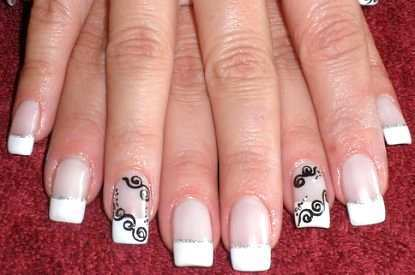 White French Tip Nail Art With Black Bows Design