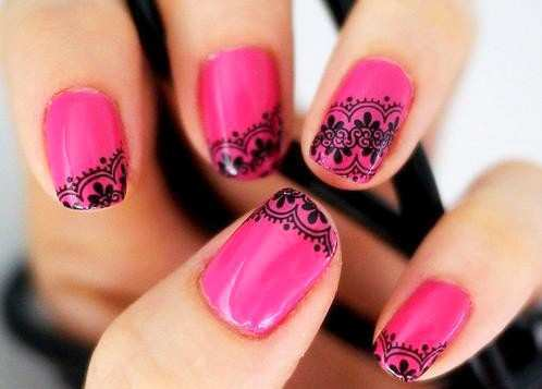 Hot Pink Black Lace Nail Art