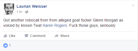 Shortly after threatening to kill the author, Laurian posted this friendly post (Source: Laurian Weisser Facebook page)