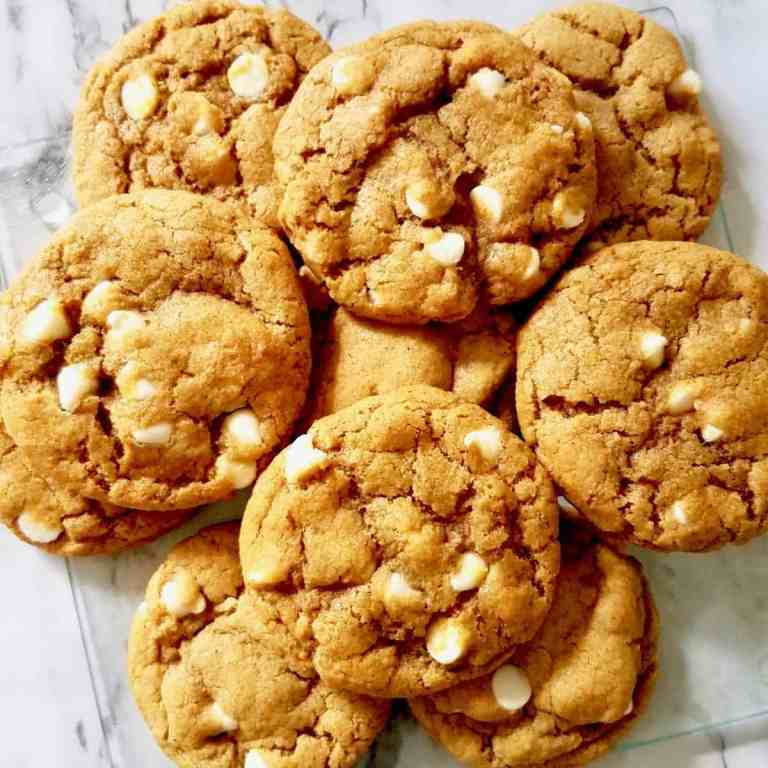 Chewy White Chocolate Chip Pumpkin Cookies - a fall favorite recipe. | We Three Shanes