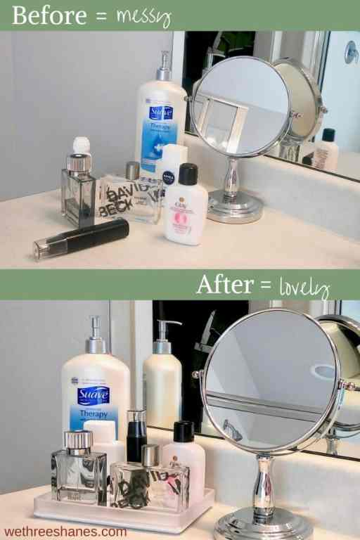 Before and After of contained clutter. All the personal care items look messy sitting out on the bathroom counter but once they are set on the tray they look cleaned up and organized. It's a simple declutter trick that makes a huge difference.   We Three Shanes
