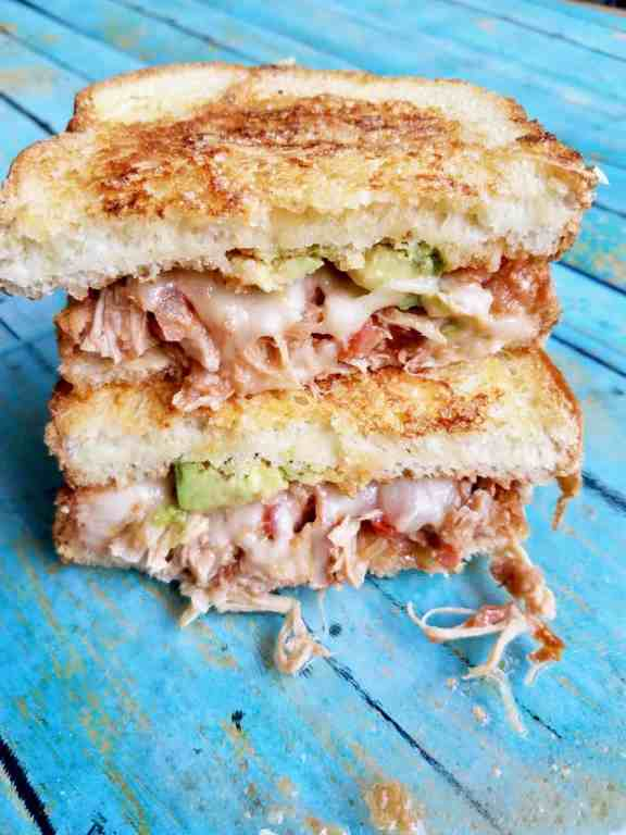 EASY CROCKPOT SALSA CHICKEN -Make this sandwich with leftovers from the ridiculously easy crockpot salsa chicken is so delicious and versatile you'll never get tired of making it. Just 2 ingredients in the crockpot and walk away. It's that simple! Plus you can make sandwiches and so much more with the leftovers. - www.wethreeshanes.com