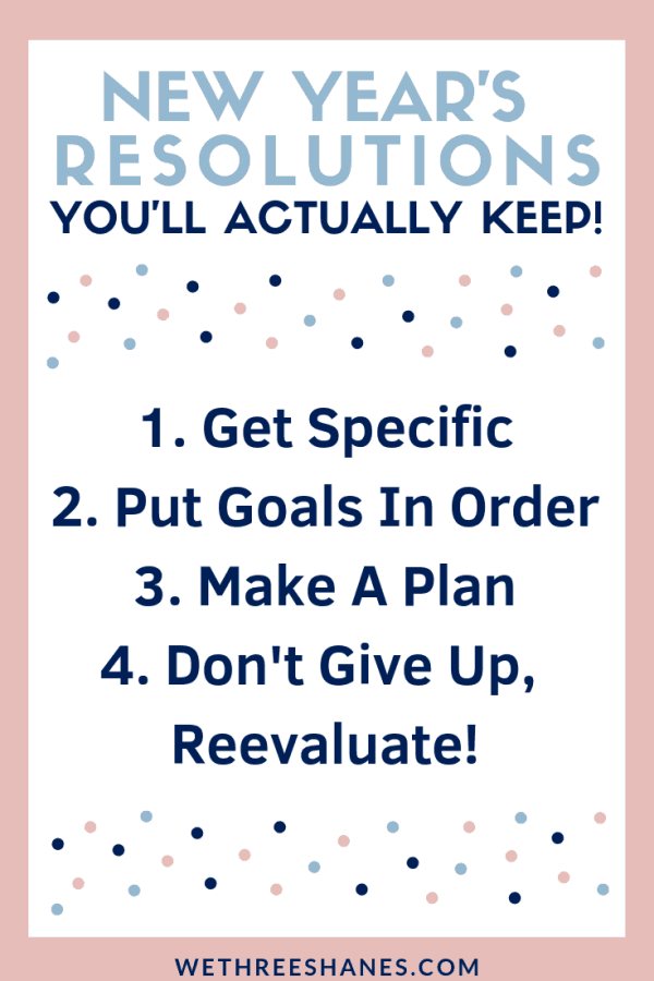 Did you know that out of the 40% of Americans who make New Year's Resolutions only 8% achieve their goals? We're going to break down the problems with Resolutions and give you easy, actionable steps to help you set New Year's Resolutions that you'll actually KEEP! | We Three Shanes