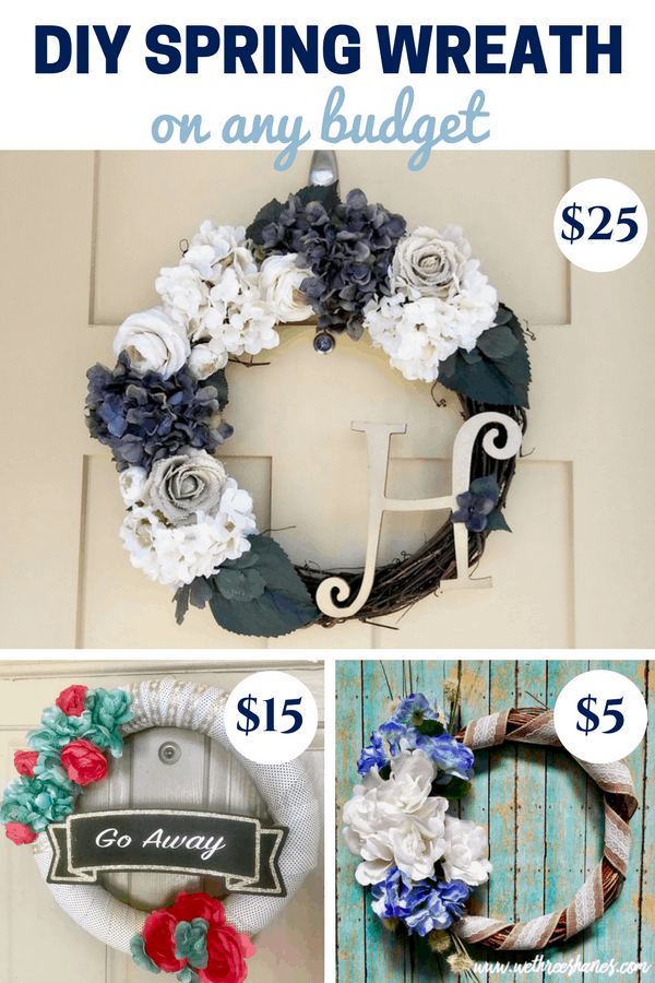 Wreaths are a great way to add some color & beauty to your front door, but they can get expensive! A quick & easy project, these frugal DIY Spring Wreaths can be made on any budget. We've got step by step tutorials and shopping guides for a $5, $15, or $25 wreath. Get creative & make the one that's right for you! | WeThree Shanes