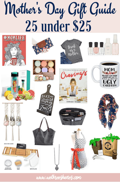 Mother's Day is coming up and we want you to be prepared. Your mom is worth more than a last minute gift so start thinking now! We've compiled an awesome list of 25 Mother's Day Gifts to buy your mamma. The good news is everything is under twenty-five dollars! Spoil the moms in your life. They deserve it! | We Three Shanes