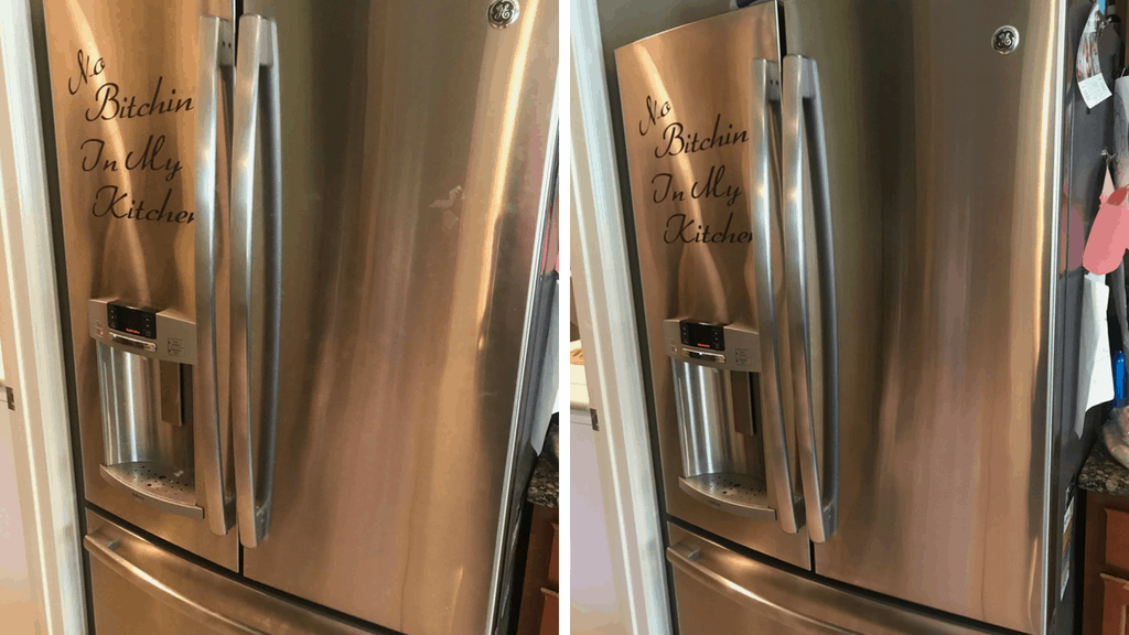 Ditch the chemicals and expense of store bought stainless steel cleaner & easily make your own. DIY Stainless Steel Cleaner cost pennies and works great!| We Three Shanes