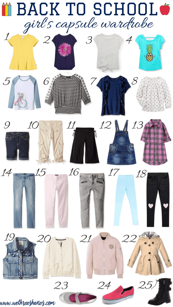 Back to School is the perfect time to create a Capsule Wardrobe for the kiddos in your life. Simplify your year with this Back to School Capsule Wardrobe for girls that uses only 25 clothing items to create over 100 stylish outfits. | We Three Shanes