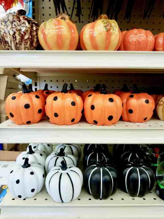 Dollar Tree pumpkin decor - polk-a-dot pumpkins, stripe pumpkins, black and white pumpkins and more.
