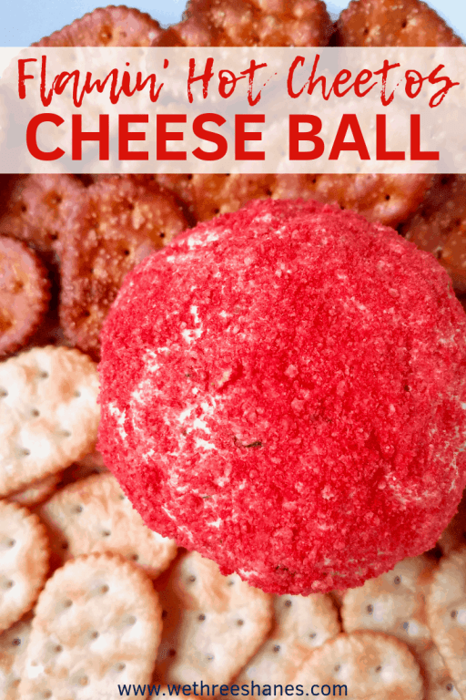 This Flamin' Hot Cheetos Cheese Ball Recipe is bringing some new flavors to the classic appetizer. Taco flavors blend well with the cream cheese filling, while the outer layer of Flamin' Hots adds crunch and kick.  It's perfect for your next party or game day event. | We Three Shanes