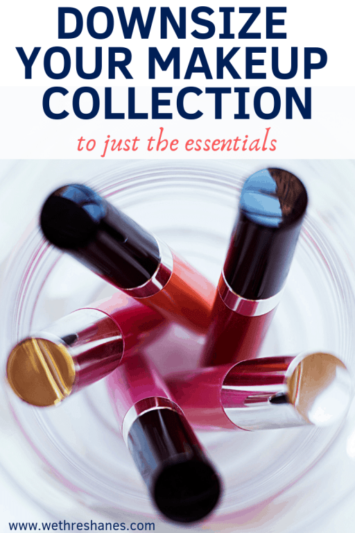 Learn how to downsize your makeup collection to just the essential with this easy to follow, step by step guide and helpful photos. Minimize makeup for a better beauty routine. | We Three Shanes