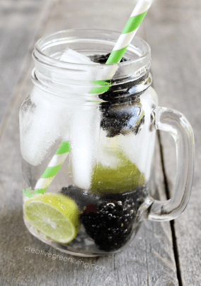 Blackberry Infused Water is a refreshing way to stay hydrated this Summer. Check out this recipe and 16 other Flavored Water Recipes by clicking the link! | We Three Shanes