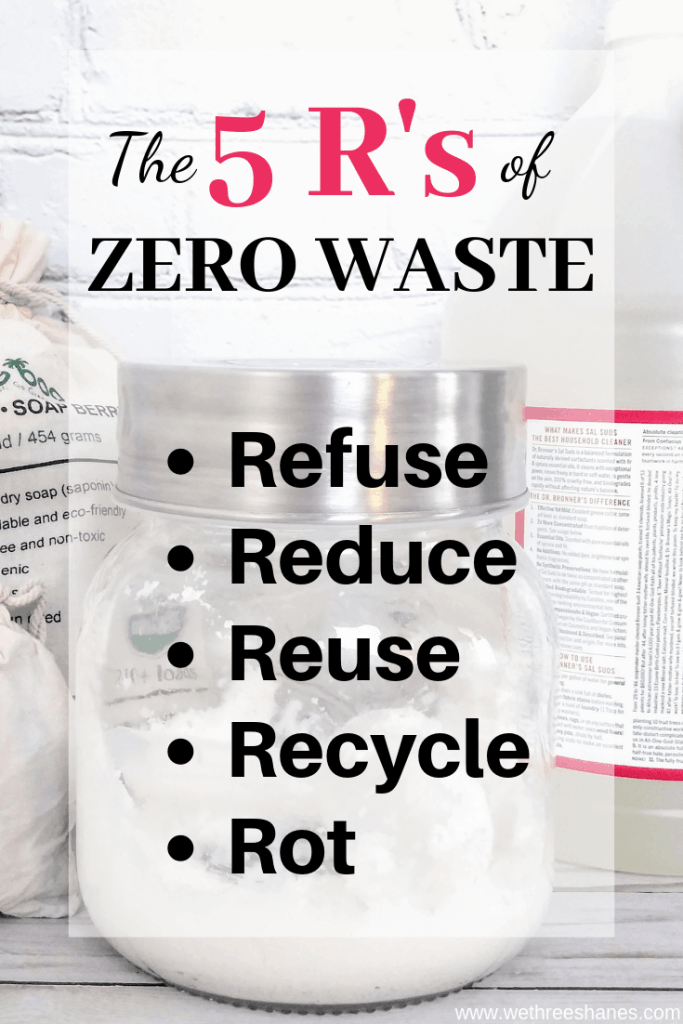 What is Zero Waste? Bea Johnson, the mother of Zero Waste Living, created the 5'Rs of zero waste to make sustainable living easier. Keep reading to find out what they are and how to use them. | We Three Shanes