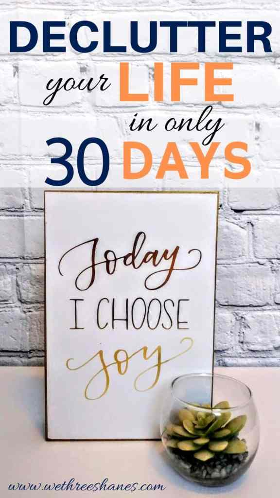 Can you really declutter your life in 30 days? The Minimalize Your Life Challenge gives you one, easy project a day to get rid of stuff and live simply. | We Three Shanes