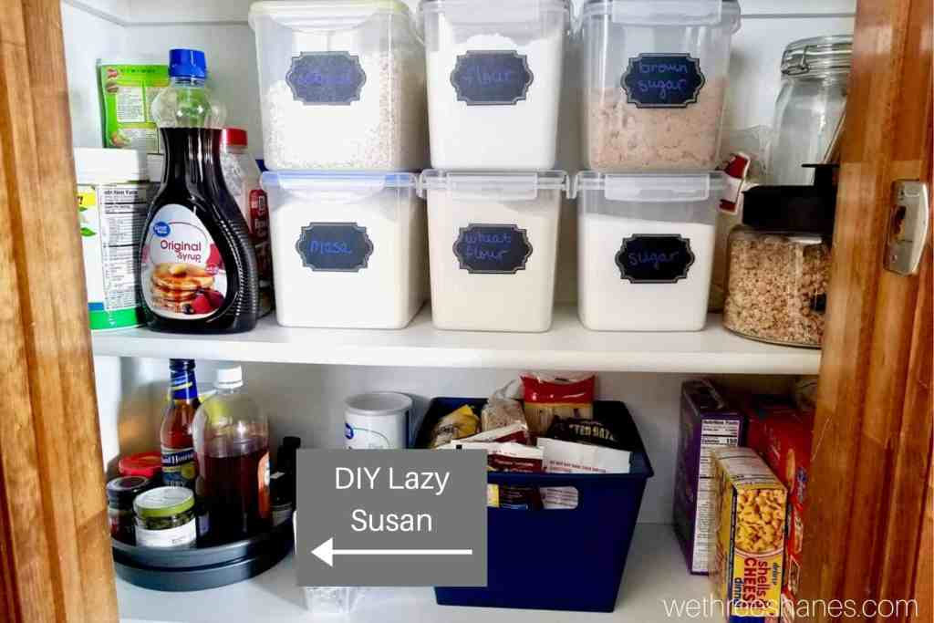 Small Pantry Organization is a great budget project! Check out these helpful space saving ideas that will turn you small pantry into a beautiful and functional space without spending a ton of money. | We Three Shanes