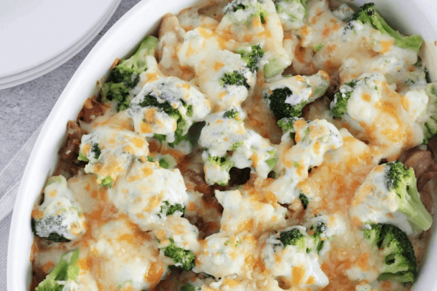 Chicken casserole with broccoli is a healthy dinner recipe that uses frozen vegetables to make it a quick dish. | We Three Shanes