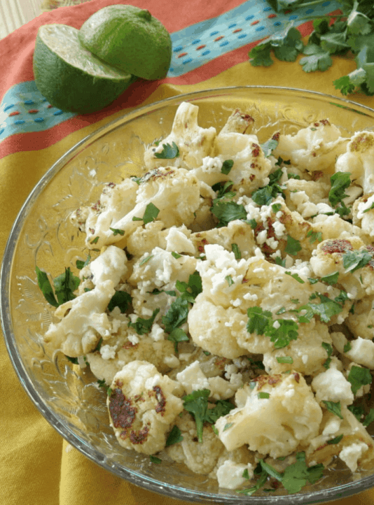 Mexican Street Style Cauliflower uses frozen cauliflower to make this low-carb alternative to elote in a cup.  | We Three Shanes