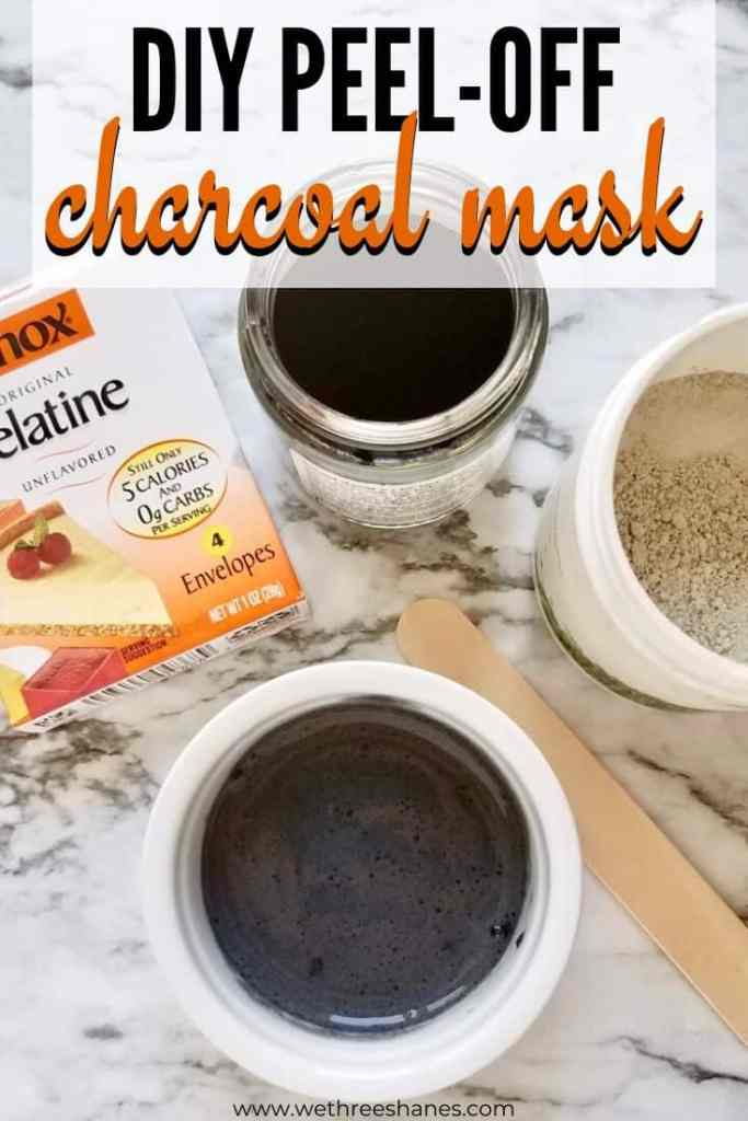 DIY Charcoal Peel-Off Mask uses natural ingredients to gently detoxify skin, remove blackheads, shrink pores and leave behind radiant, glowing skin. | We Three Shanes