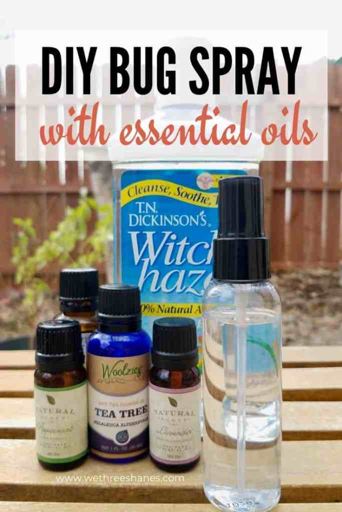Make your own powerful bug spray using essential oils and other natural ingredients. Chase away mosquitos the non-toxic way! | We Three Shanes