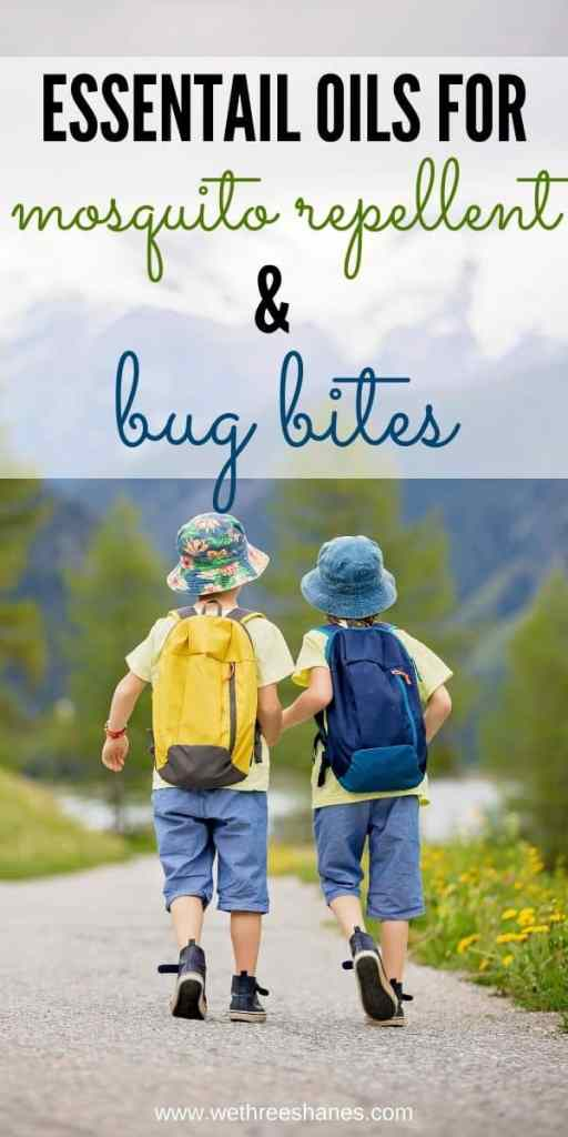 The BEST essential oil blends for bug repellent and bug bite relief. Plus, an easy but powerful DIY Bug Repellent Spray and a roller ball bug relief recipe.  | We Three Shanes