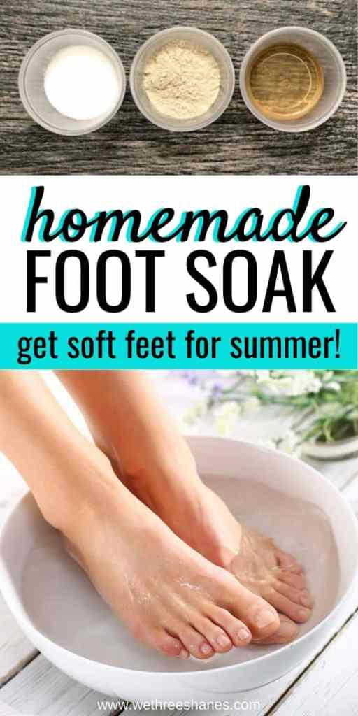 Get soft, summer ready feet while you sit back and relax with this homemade foot soak. Enjoy the spa-like experience for a fraction of the cost! | We Three Shanes