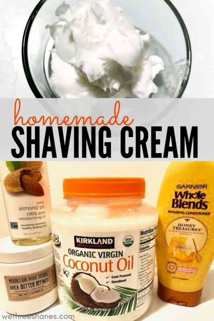Did you know it's super easy to make your own natural shaving cream? Homemade Shaving Cream will leave your legs so silky & smooth you'll be wondering why you didn't try it sooner. Say bye-bye to razor burn, ingrown hair, and dry itchy legs & hello to gorgeous, touchable legs! | We Three Shanes