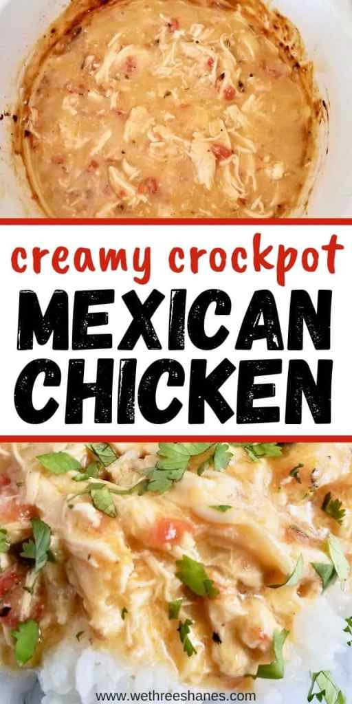 Looking for a quick and easy dinner recipe that is absolutely delicious?Throw some chicken, rotel, and cream of chicken soup in the crockpot and walk away. Hours later you've got delicious Creamy Mexican Chicken the whole family will love. | We Three Shanes