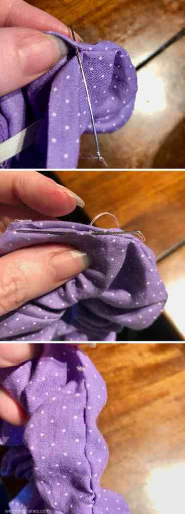 Sewing your DIY Scrunchie shut by hand gives you a smooth finish. Learn more tips about sewing a scrunchie in this tutorial. | We Three Shanes