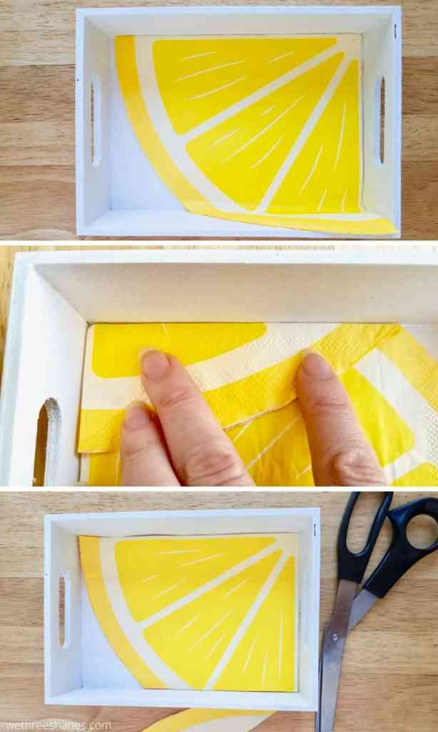 Learn how to decoupage a napkin onto wood with this easy to follow tutorial. Dollar Store supplies make this a super inexpensive DIY! | We Three Shanes