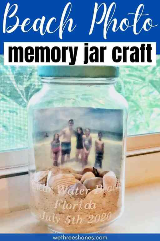 Create your own DIY Beach Memory Jar with sand, shells, and a favorite picture from your last beach trip and keep those fun summer memories alive! | We Three Shanes