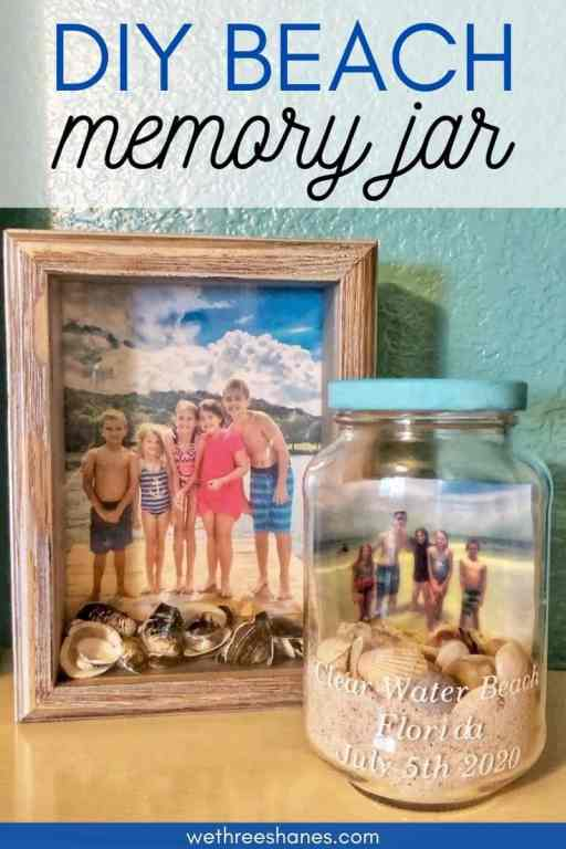 Make those summer memories last with a DIY Beach Memory Jar. It's the perfect, simple craft project to use up all those shells you've been collecting! | We Three Shanes